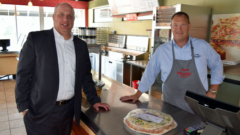 Joel Meyer of Papa Murphy's (right) with Tom Ethen of Stearns Bank