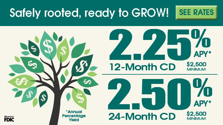 Grow your money: 12-month and 24-month CDs