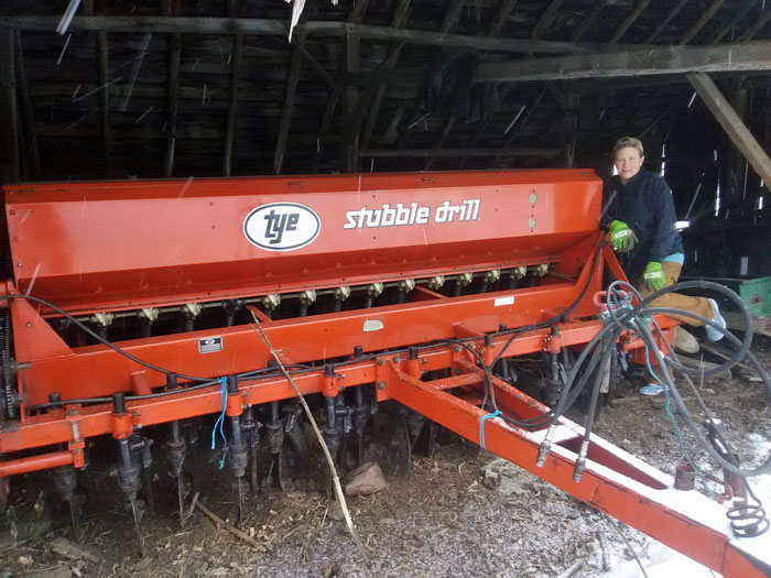 Audra Hickman and her seed drill
