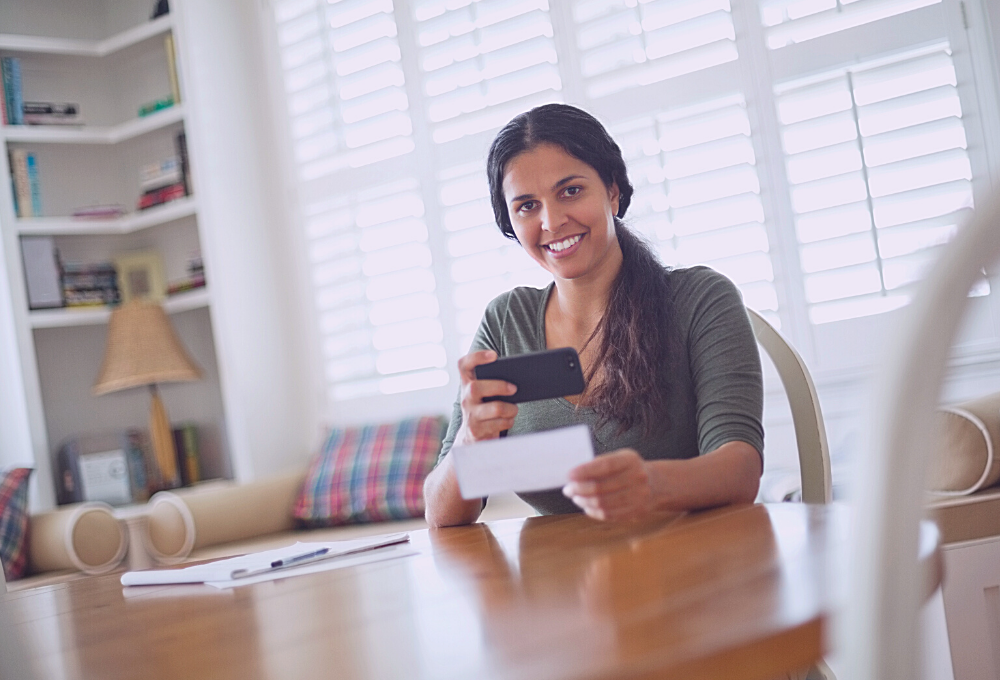 Mobile deposit enables you to deposit checks from home